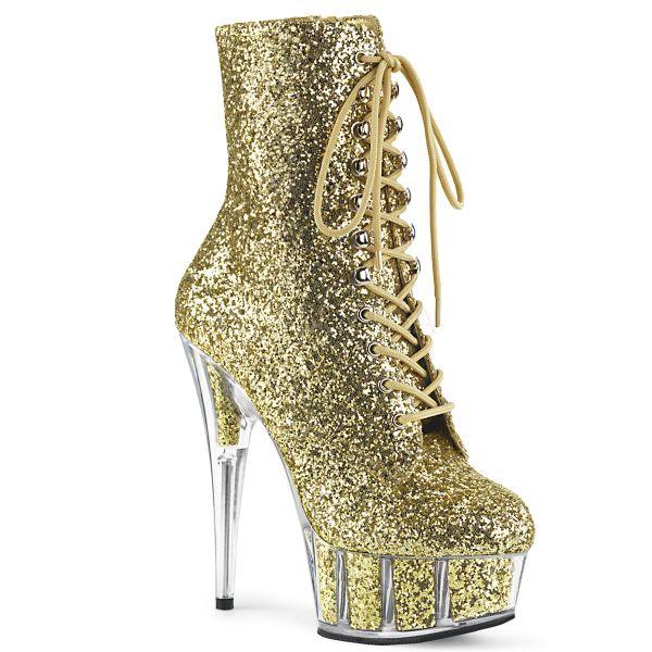 Plateau Stiefelette gold Glitter mit Schnürung und Reißverschluss DELIGHT-1020
